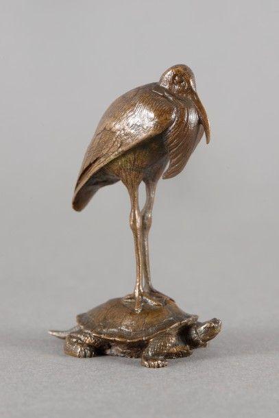 Antoine Louis BARYE Cigogne posée sur une tortue Groupe en bronze à patine brune,...