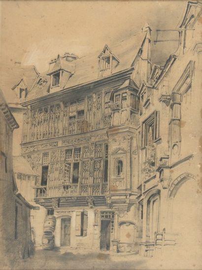 Charles DIETERLE Cour ancienne Dessin à la mine de plomb Monogramme en bas à droite...