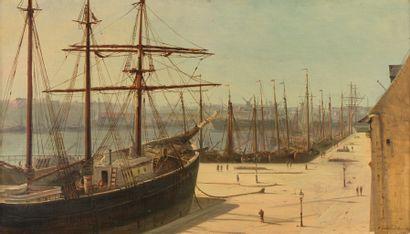 Henriette GUDIN Le port d'Ostende, 1878 Huile sur toile Signée, située et datée en...