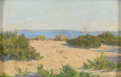 Jan VAN MARCKE DE LUMMEN Hyères, vue sur Porquerolles, 1914 Huile sur panneau Non...