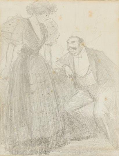JEAN-LOUIS FORAIN Couple Lithographie en noir (rousseurs et traces de plis) Signé...
