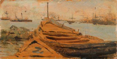 Giuseppe DE NITTIS La barque, circa 1866 Huile sur panneau Non signé, porte un n°123...