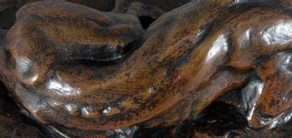 Antoine Louis BARYE Lévrier couché Bronze à patine brune, fonte ancienne Sur la terrasse:...