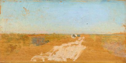 Giuseppe DE NITTIS La route de Naples à Brindisi, 1872 Huile sur panneau Non signé,...