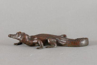 Antoine Louis BARYE Crocodile Bronze à patine brune légèrement nuancée de vert, fonte...