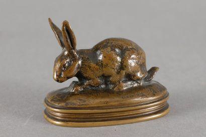 Antoine Louis BARYE Lapin, oreilles dressées (terrasse ovale avec profil) Bronze...