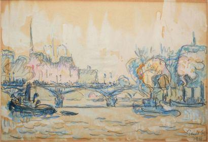 SIGNAC Paul, 1863-1935 Pont et remorqueur sur la Seine à Paris Aquarelle gouachée...