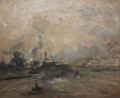 GILLOT Eugène Louis, 1867-1925 Paquebot et remorqueurs à l'entrée d'un port Huile...