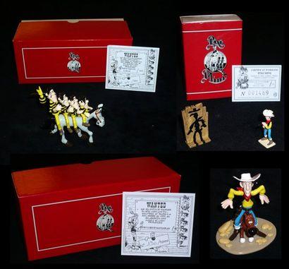 MORRIS LUCKY LUKE Lot de trois figurines...