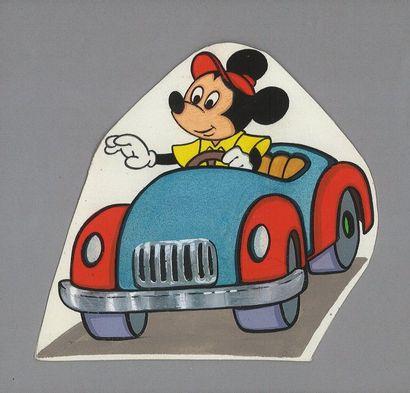 DISNEY Mickey en voiture. Dessin pour une...