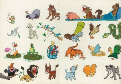 DISNEY Série de 22 animaux. Grand dessin...
