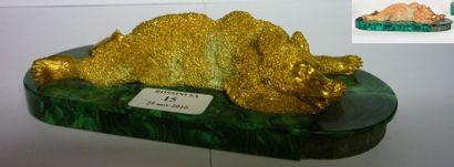 Ours assoupi Bronze dore, socle plaque malachite,...