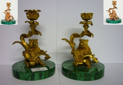 Paire de bougeoirs aux oursons Bronze dore,...
