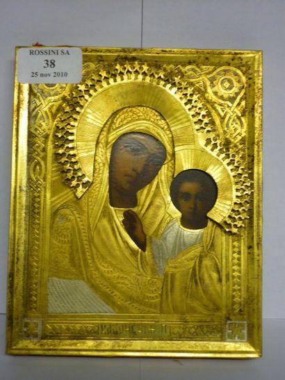 Vierge de Kazan vers 1900 Oklad de metal...