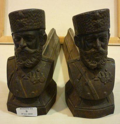 Paire de chenets vers 1890 Buste de l'Empereur...
