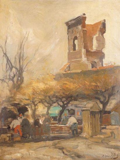 GILLOT Eugène Louis, 1867-1925 Place devant une tour huile sur carton fort, signé...