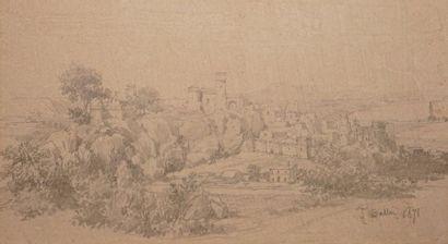 BALLU Théodore, 1817-1885  Village dans les...