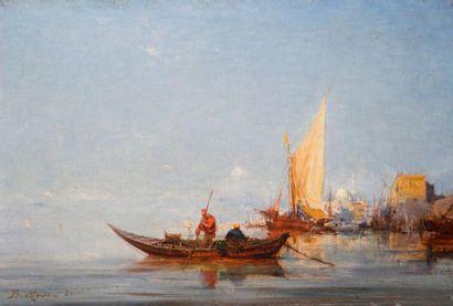 BISTAGNÉ Paul, 1850-1886  Barque au rivage...
