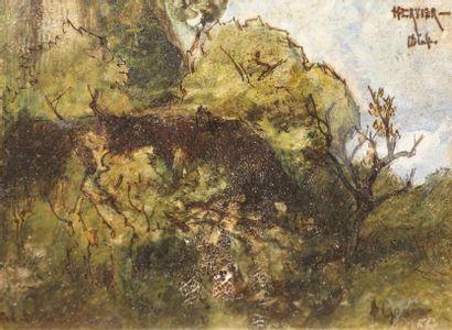 HERVIER Louis Adolphe, 1818-1879  Arbres,...