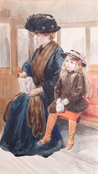 TOFANI Osvaldo, 1849-1915  Femme et fillette...