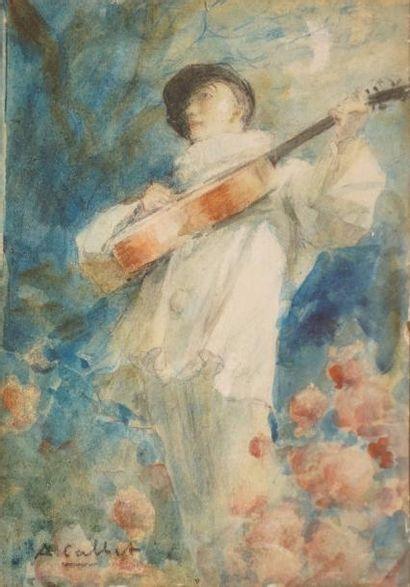 CALBET Antoine, 1860-1944  Pierrot et Colombine...