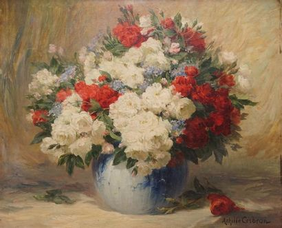 CESBRON Achille, 1849-1915  Roses blanches...