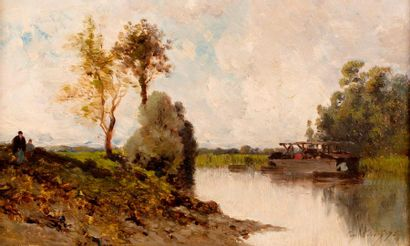 CICÉRI Eugène, 1813-1890  Rivière au bac,...