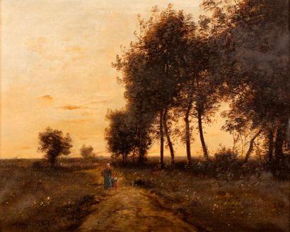 RICHET Léon, 1847-1907  Paysanne et enfant...