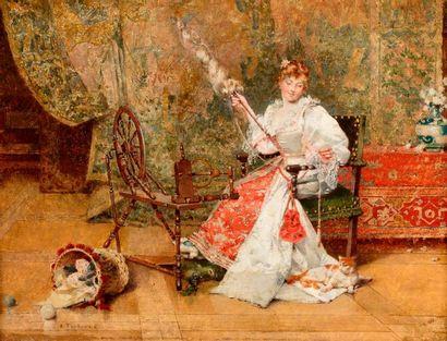 TOUDOUZE Édouard, 1848-1907  La fileuse  huile...