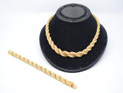 Collier et bracelet en or jaune 18K (750)...