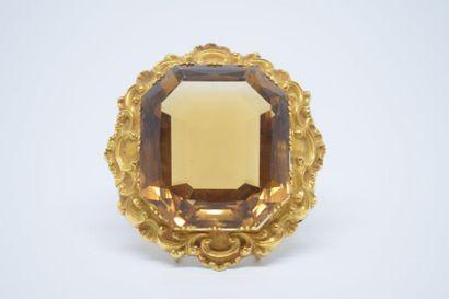 Clip de corsage en or jaune 14K (585) serti...