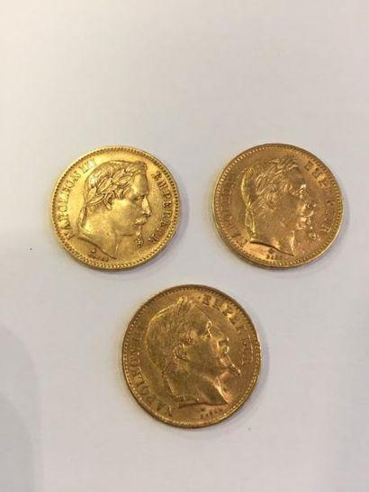 3 pièces de 20 francs Napoléon III tête laurée...