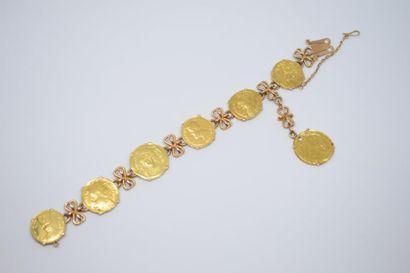 Bracelet en alliage d'or 14K (585) orné de...