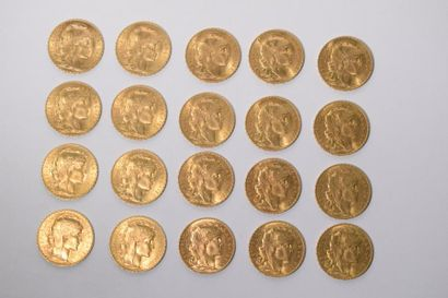 [ Pièce en or ]  20 pièces de 20 francs