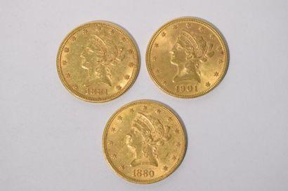 [ Pièce en or ]  3 pièces de 10 dollars