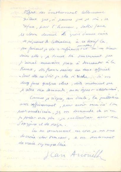 Jean ANOUILH (1910-1987). 2 L.A.S., Chesières...
