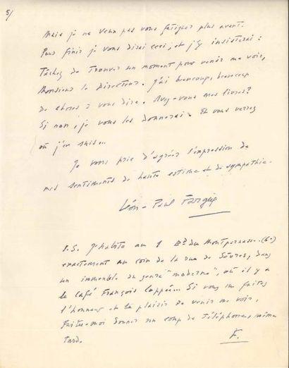 Léon-Paul FARGUE (1876-1947). L.A.S., Paris...