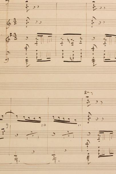 Claude DEBUSSY (1862-1918). Manuscrit musical autographe signé, [Par les rues et...