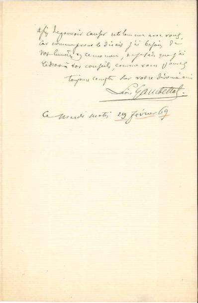 Léon GAMBETTA (1838-1882). L.A.S., 23 février...