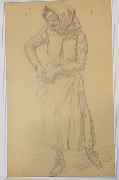 GSELL Laurent (1860-1944)  Paysanne  Crayon, signé en bas à gauche. 32,5x16 cm....