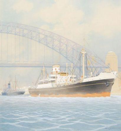 SANDY-HOOK Cargo mixte sous un pont,1949 Gouache et crayons de couleurs, signé et...