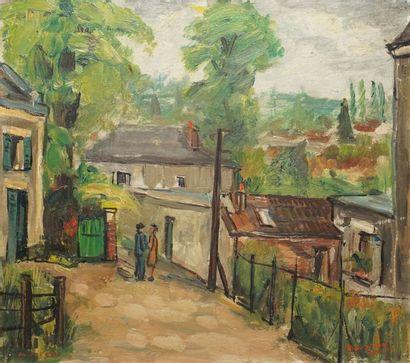 BOUYSSOU Jacques, 1926-1997  Vue d'Auvers sur Oise, 1948  huile sur carton  signé...