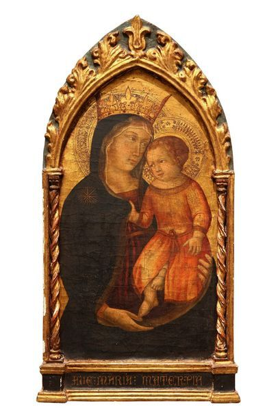 ECOLE ITALIENNE (Ombrie ou Marches) vers 1400    Vierge à l'Enfant    Tempéra sur...