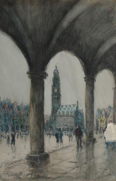 Place à Arras, sous les arcades Aquarelle,...