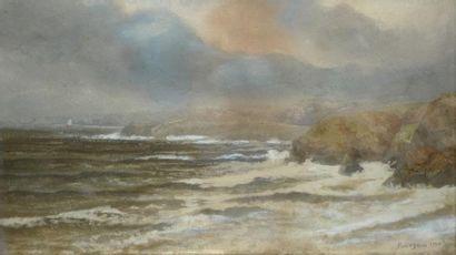 BOURGAIN Gustave, 1855-1921 Rivages du Nord par grosse mer, 1910 Aquarelle gouachée...