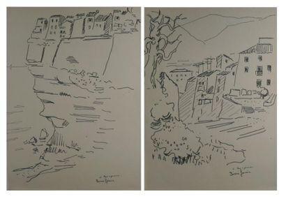 Vues de Bonifacio Deux dessins à l'encre...