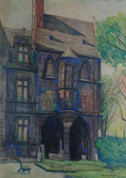 Parc et maison gothique, 1929 Aquarelle (rousseurs),...