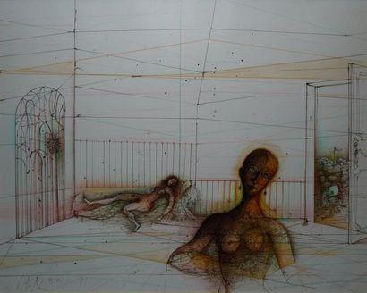 Le sérail, 1981 Encre brune et crayons de...
