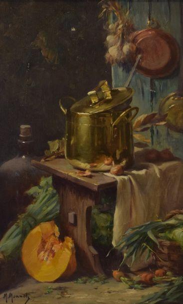 MONNOT Maurice-Louis (1869-1937)  Intérieur de cuisine  Huile sur toile signée...