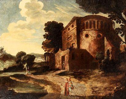ECOLE ITALIENNE du XVIIe siècle    Paysage...